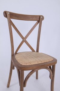 Wooden cross back chairs Deep log color