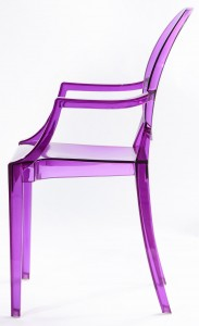 Resin ghost chairs with arms clear purple