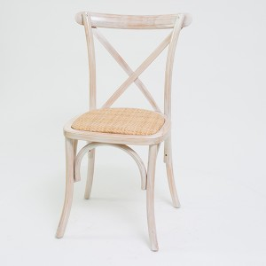 Beech wood cross back chair Wash white