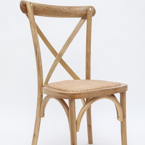Wooden cross back chairs Rattan burlywood