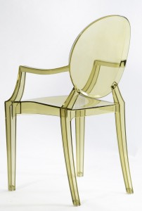 Resin ghost chairs with arms clear green