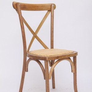 Wooden cross back chairs K1 Rattan burlywood