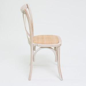 Beech wood cross back chair Wash white