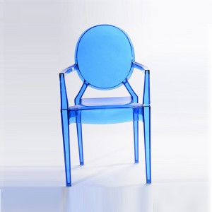Resin ghost chairs with arms blue