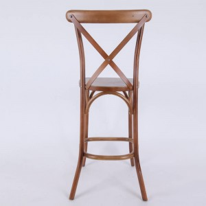 OEM China Upholster European Vintage Wooden Bar Cross Back Dining Chair