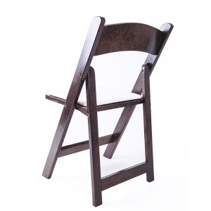 Wooden padded folding chairs brown