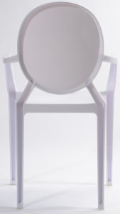 Resin ghost chairs with arms clear white