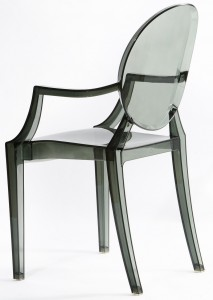 Resin ghost chairs with arms smokey grey