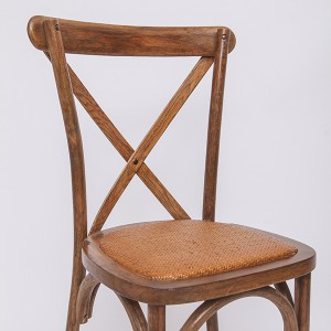 Wooden cross back chairs YDL7 Rattan Light brown