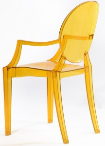 Resin ghost chairs with arms clear yellow