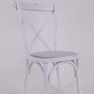 Beech wood cross back chair Retro white