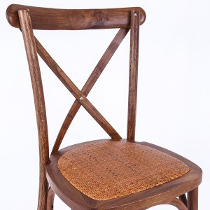 Wooden cross back chairs fruitwood
