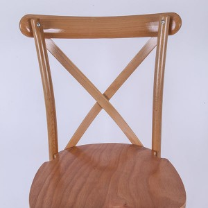Wooden cross back chairs Raw wood