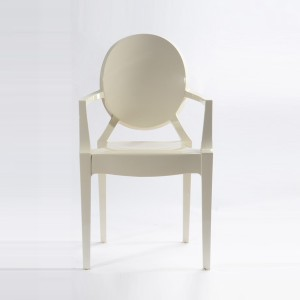 Resin ghost chairs with arms ivory