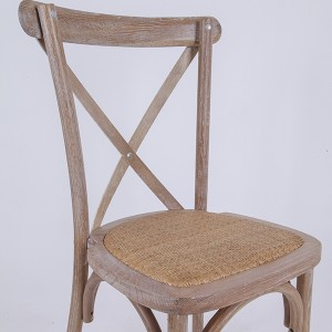 Wooden cross back chairs Rattan Old wood color