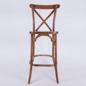 Wholesale OEM/ODM Restaurant Bar Stool Solid Wood Rattan Seat Cross Back Dining Chair With Footrest Cross Back Bar Stool