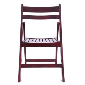 Wooden Slatted folding chairs purplish red