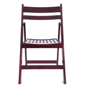 Wooden Slatted folding chairs purplish red