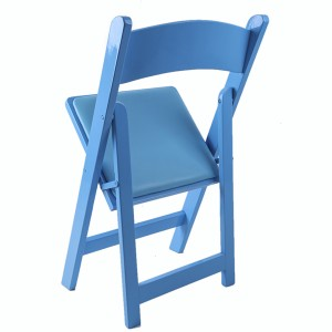 Wooden padded folding chairs blue