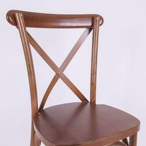 Wooden cross back chairs Light fruit wood A53
