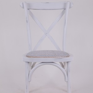 Beech wood cross back chair Retro white