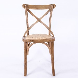 Oak wood cross back chair